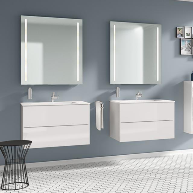 Cosmic Block Waschtisch mit Waschtischunterschrank mit 2 Auszügen weiß matt
