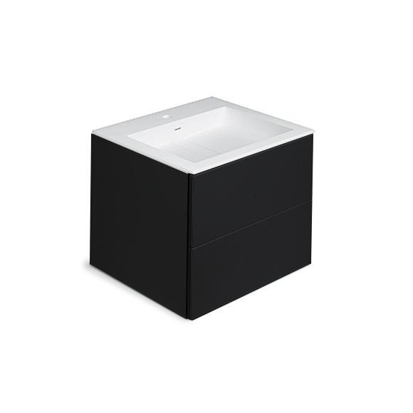 Cosmic Block Waschtisch mit Waschtischunterschrank mit 2 Auszügen schwarz matt