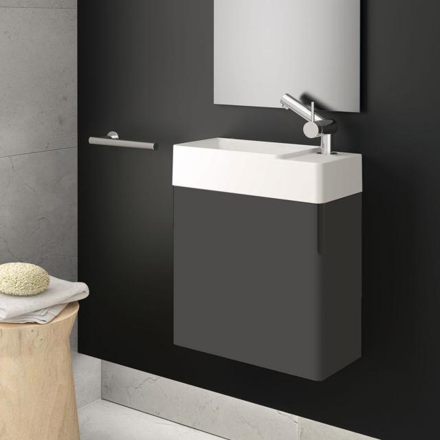 Cosmic fancy Handwaschbecken mit Waschtischunterschrank mit 1 Tür weiß matt, anthrazit