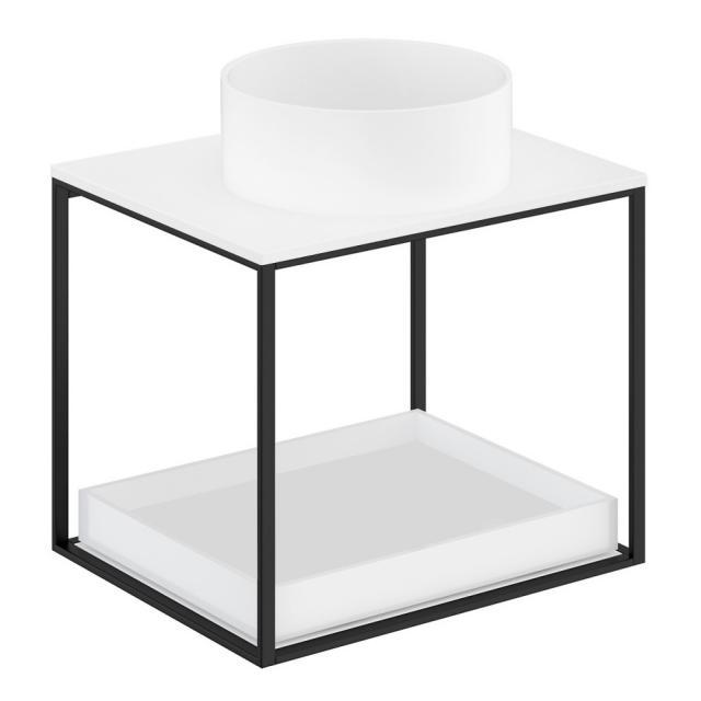 Cosmic The Grid Evo Aufsatzwaschtisch rund mit Metallkonsole mit ausziehbarer Ablage Front weiß matt/schwarz matt / Korpus weiß matt/schwarz matt, Abdeckplatte weiß matt