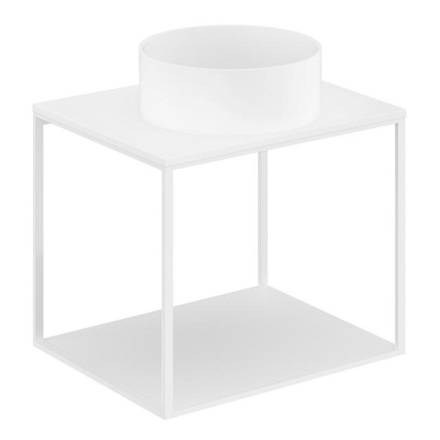 Cosmic The Grid Evo Aufsatzwaschtisch rund mit Metallkonsole mit fester Ablage Front weiß matt / Korpus weiß matt, Abdeckplatte weiß matt