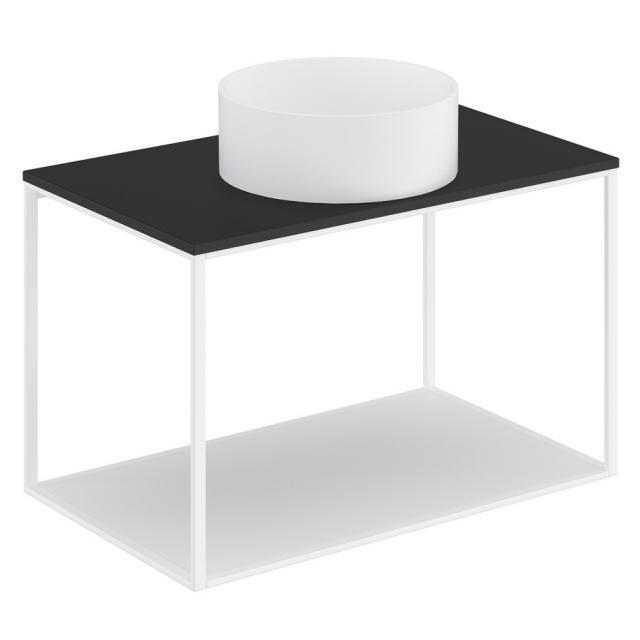 Cosmic The Grid Evo Aufsatzwaschtisch rund mit Metallkonsole mit fester Ablage Front weiß matt / Korpus weiß matt, Abdeckplatte schwarz matt