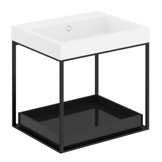 Cosmic The Grid Evo Waschtisch mit Metallkonsole mit ausziehbarer Ablage Front schwarz glanz/schwarz matt / Korpus schwarz glanz/schwarz matt
