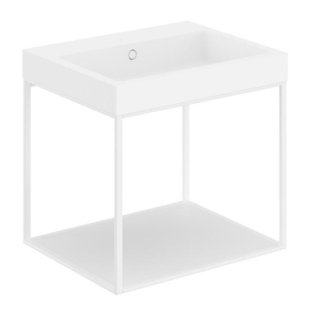 Cosmic The Grid Evo Waschtisch mit Metallkonsole mit fester Ablage Front weiß matt / Korpus weiß matt