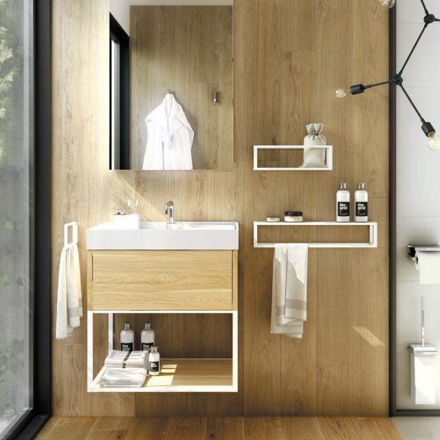 Cosmic The Grid Waschtisch mit Waschtischunterschrank mit fester Ablage und Auszug Front eiche hell/weiß / Korpus eiche hell/weiß