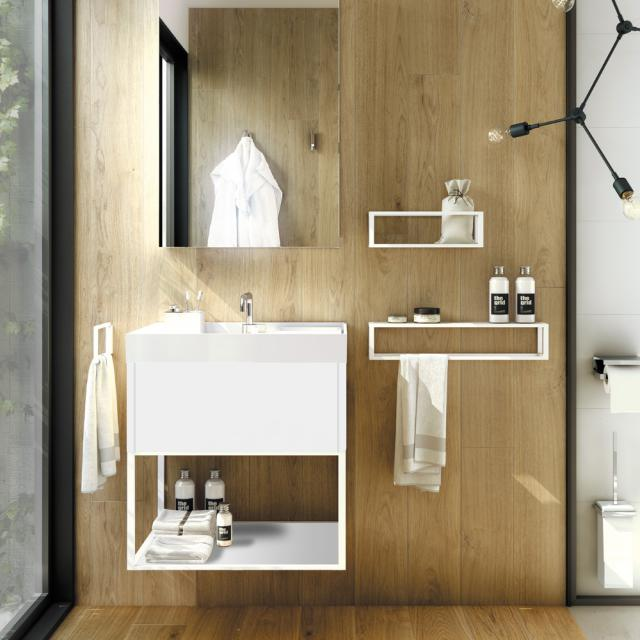 Cosmic The Grid Waschtisch mit Waschtischunterschrank mit fester Ablage und Auszug Front weiß matt/weiß / Korpus weiß matt/weiß