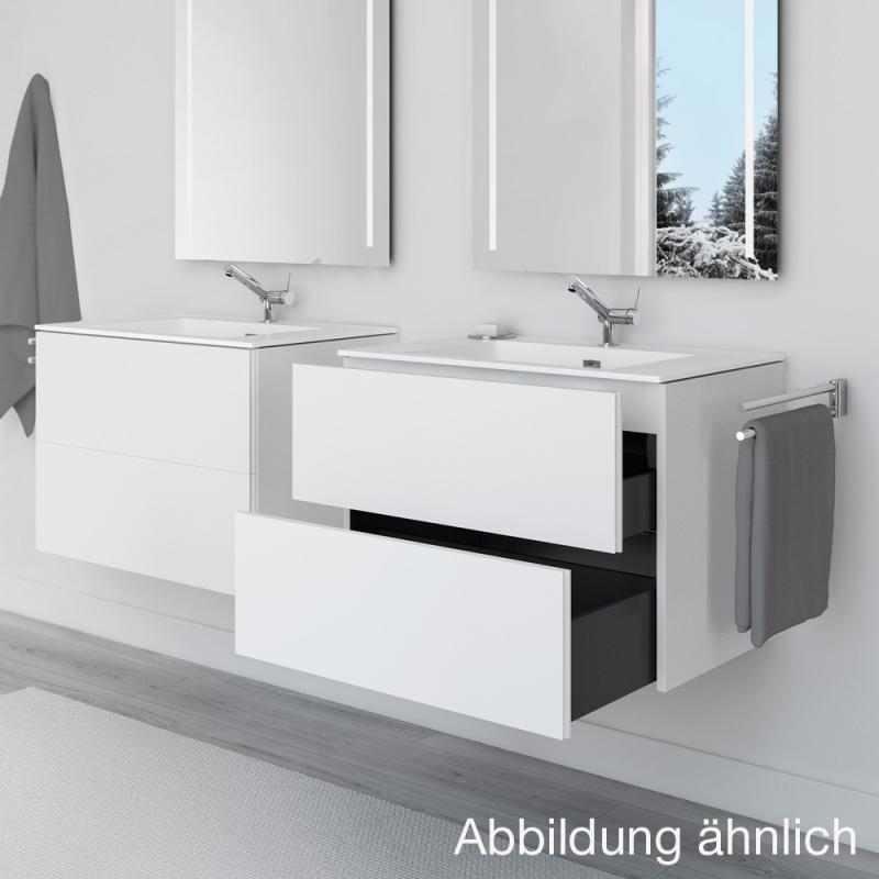 cosmic block evo waschtisch mit waschtischunterschrank mit 2 ausz gen wei gl nzend wei. Black Bedroom Furniture Sets. Home Design Ideas
