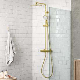 Damixa Silhouet Thermostat Duschsystem mit Metallbrauseschlauch messing gebürstet/weiß