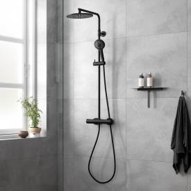 Damixa Silhouet Thermostat Duschsystem mit Metallbrauseschlauch schwarz matt