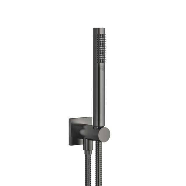 Dornbracht Schlauchbrausegarnitur mit integriertem Brausehalter, eckig dark platinum matt