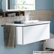 Duravit L-Cube wall-mounted vanity unit front matt white / corpus matt white, with interior system in walnut