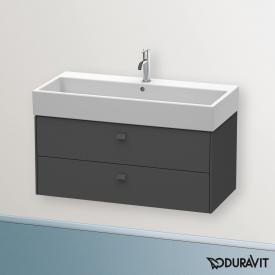 Duravit Brioso Waschtischunterschrank mit 2 Auszügen Front graphit matt/Korpus graphit matt, Griff graphit matt
