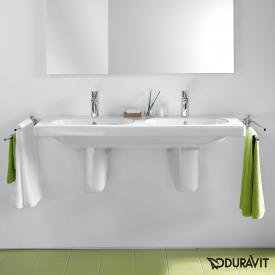Duravit D-Code Doppelwaschtisch weiß, mit 2 Hahnlöchern