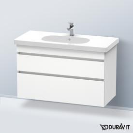 Duravit D-Code Waschtisch mit DuraStyle Waschtischunterschrank mit 2 Auszügen weiß, mit 1 Hahnloch, mit Überlauf