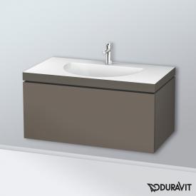 Duravit Darling New Waschtisch mit L-Cube Waschtischunterschrank mit 1 Auszug flannel grey seidenmatt, ohne Einrichtungssystem, mit 1 Hahnloch
