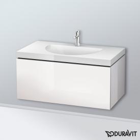 Duravit Darling New Waschtisch mit L-Cube Waschtischunterschrank mit 1 Auszug Front weiß hochglanz / Korpus weiß hochglanz, ohne Einrichtungssystem, mit 1 Hahnloch