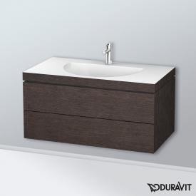 Duravit Darling New Waschtisch mit L-Cube Waschtischunterschrank mit 2 Auszügen eiche dunkel gebürstet, ohne Einrichtungssystem, mit 1 Hahnloch