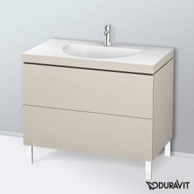 Duravit Darling New Waschtisch mit L-Cube Waschtischunterschrank mit 2 Auszügen Front taupe matt / Korpus taupe matt, mit Einrichtungssystem Nussbaum, mit 1 Hahnloch