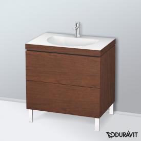 Duravit Darling New Waschtisch mit L-Cube Waschtischunterschrank mit 2 Auszügen amerikanischer nussbaum, ohne Einrichtungssystem, mit 1 Hahnloch