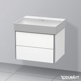 Duravit DuraSquare Waschtisch mit XSquare Waschtischunterschrank mit 2 Auszügen weiß, mit WonderGliss, ohne Hahnloch