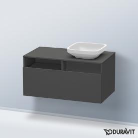 Duravit DuraStyle Waschtischunterschrank für Aufsatzwaschtisch mit 1 Auszug und 1 offenen Fach Front graphit matt / Korpus graphit matt