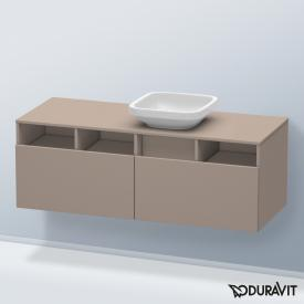 Duravit DuraStyle Waschtischunterschrank für Aufsatzwaschtisch mit 2 Auszügen und 3 offenen Fächern Front basalt matt / Korpus basalt matt