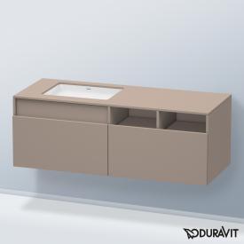Duravit DuraStyle Waschtischunterschrank für Unterbauwaschtisch mit 2 Auszügen und 2 offenen Fächern Front basalt matt / Korpus basalt matt