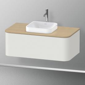 Duravit Happy D.2 Plus LED-Waschtischunterschrank für Konsole mit 1 Auszug Front nordic weiß seidenmatt / Korpus nordic weiß seidenmatt, mit Einrichtungssystem Ahorn