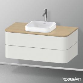 Duravit Happy D.2 Plus LED-Waschtischunterschrank für Konsole mit 2 Auszügen Front nordic weiß seidenmatt / Korpus nordic weiß seidenmatt, mit Einrichtungssystem Ahorn