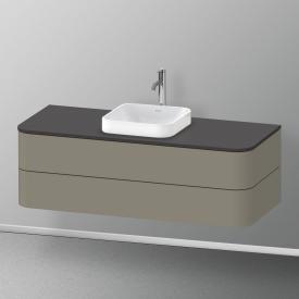 Duravit Happy D.2 Plus LED-Waschtischunterschrank für Konsole mit 2 Auszügen Front steingrau seidenmatt / Korpus steingrau seidenmatt, mit Einrichtungssystem Ahorn