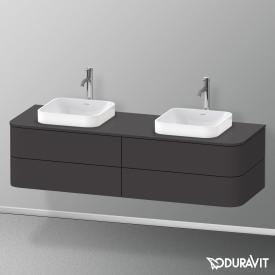 Duravit Happy D.2 Plus LED-Waschtischunterschrank für Konsole mit 4 Auszügen Front graphit supermatt / Korpus graphit supermatt, mit Einrichtungssystem Nussbaum