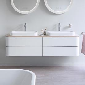 Duravit Happy D.2 Plus LED-Waschtischunterschrank für Konsole mit 4 Auszügen Front nordic weiß seidenmatt / Korpus nordic weiß seidenmatt, mit Einrichtungssystem Nussbaum