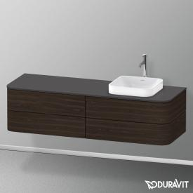Duravit Happy D.2 Plus LED-Waschtischunterschrank für Konsole mit 4 Auszügen Front nussbaum gebürstet / Korpus nussbaum gebürstet, mit Einrichtungssystem Ahorn