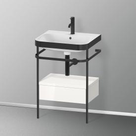 Duravit Happy D.2 Plus Waschtisch mit Metallkonsole mit 1 Auszug mit 1 Hahnloch, Front weiß hochglanz/schwarz matt/Korpus weiß hochglanz/schwarz matt, ohne Einrichtungssystem