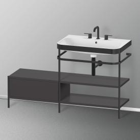 Duravit Happy D.2 Plus Waschtisch mit Metallkonsole mit 2 Ablagen und Unterschrank mit 3 Hahnlöchern, Front graphit supermatt/schwarz matt/Korpus graphit supermatt/schwarz matt, ohne Einrichtungssystem