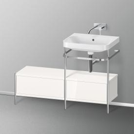 Duravit Happy D.2 Plus Waschtisch mit Waschtischunterschrank mit 2 Auszügen ohne Hahnloch, Front weiß hochglanz/chrom/Korpus weiß hochglanz/chrom, ohne Einrichtungssystem