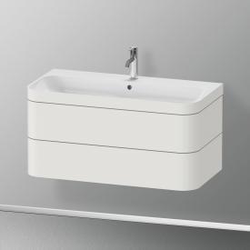 Duravit Happy D.2 Plus Waschtisch mit Waschtischunterschrank mit 2 Auszügen mit 1 Hahnloch, Front nordic weiß seidenmatt/Korpus nordic weiß seidenmatt, mit Einrichtungssystem nussbaum