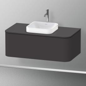 Duravit Happy D.2 Plus Waschtischunterschrank für Konsole mit 1 Auszug Front graphit supermatt / Korpus graphit supermatt, mit Einrichtungssystem Ahorn