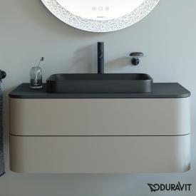 Duravit Happy D.2 Plus Waschtischunterschrank für Konsole mit 2 Auszügen Front steingrau seidenmatt / Korpus steingrau seidenmatt, mit Einrichtungssystem Ahorn