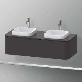 Duravit Happy D.2 Plus Waschtischunterschrank für Konsole mit 1 Auszug Front graphit supermatt / Korpus graphit supermatt, mit Einrichtungssystem Nussbaum