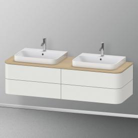 Duravit Happy D.2 Plus Waschtischunterschrank für Konsole mit 4 Auszügen Front nordic weiß seidenmatt / Korpus nordic weiß seidenmatt, mit Einrichtungssystem Ahorn