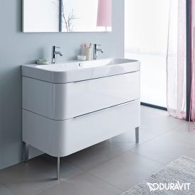 Duravit Happy D.2 Waschtischunterschrank mit 2 Auszügen Front weiß hochglanz / Korpus weiß hochglanz, mit Einrichtungssystem Nussbaum