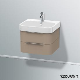 Duravit Happy D.2 Waschtischunterschrank mit 2 Auszügen Front leinen / Korpus leinen, mit Einrichtungssystem Nussbaum