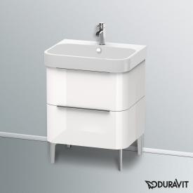 Duravit Happy D.2 Waschtischunterschrank mit 2 Auszügen Front weiß hochglanz / Korpus weiß hochglanz, mit Einrichtungssystem Ahorn