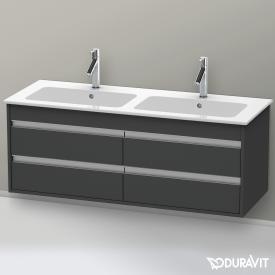 Duravit Ketho Waschtischunterschrank mit 4 Auszügen für Doppelwaschtisch Front graphit matt / Korpus graphit matt