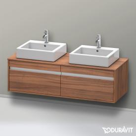 Duravit Ketho Waschtischunterschrank mit 2 Auszügen für 2 Aufsatzwaschtische Front nussbaum natur / Korpus nussbaum natur