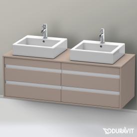 Duravit Ketho Waschtischunterschrank mit 4 Auszügen für 2 Aufsatzwaschtische Front basalt matt / Korpus basalt matt