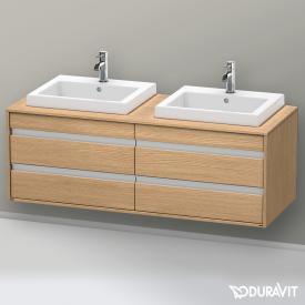 Duravit Ketho Waschtischunterschrank mit 4 Auszügen für 2 Einbauwaschtische Front europäische eiche / Korpus europäische eiche