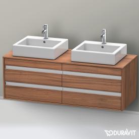 Duravit Ketho Waschtischunterschrank mit 4 Auszügen für 2 Aufsatzwaschtische Front nussbaum natur / Korpus nussbaum natur
