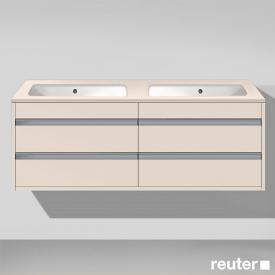 Duravit Ketho Waschtischunterschrank mit 4 Auszügen für 2 Unterbauwaschtische Front taupe matt / Korpus taupe matt